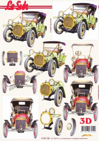 Vintage Cars 3d Decoupage Craft Sheet